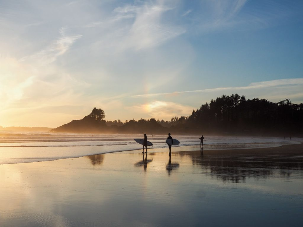 Surfers in Tofino at Sunset