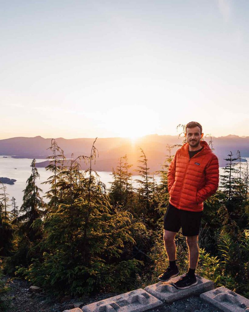 Patagonia men's down sweater jacket review at Bowen Lookout in Vancouver