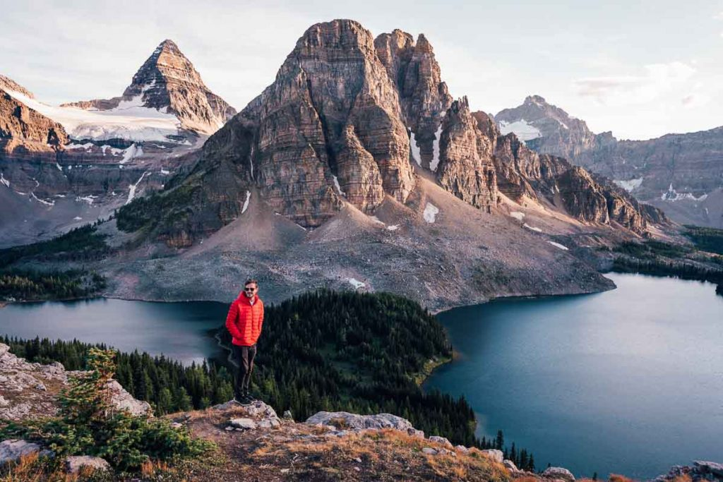Patagonia men's down sweater review at Mount Assiniboine