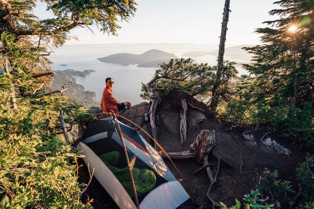 Backpacking sleeping bag reviews - backcountry camping above Howe Sound